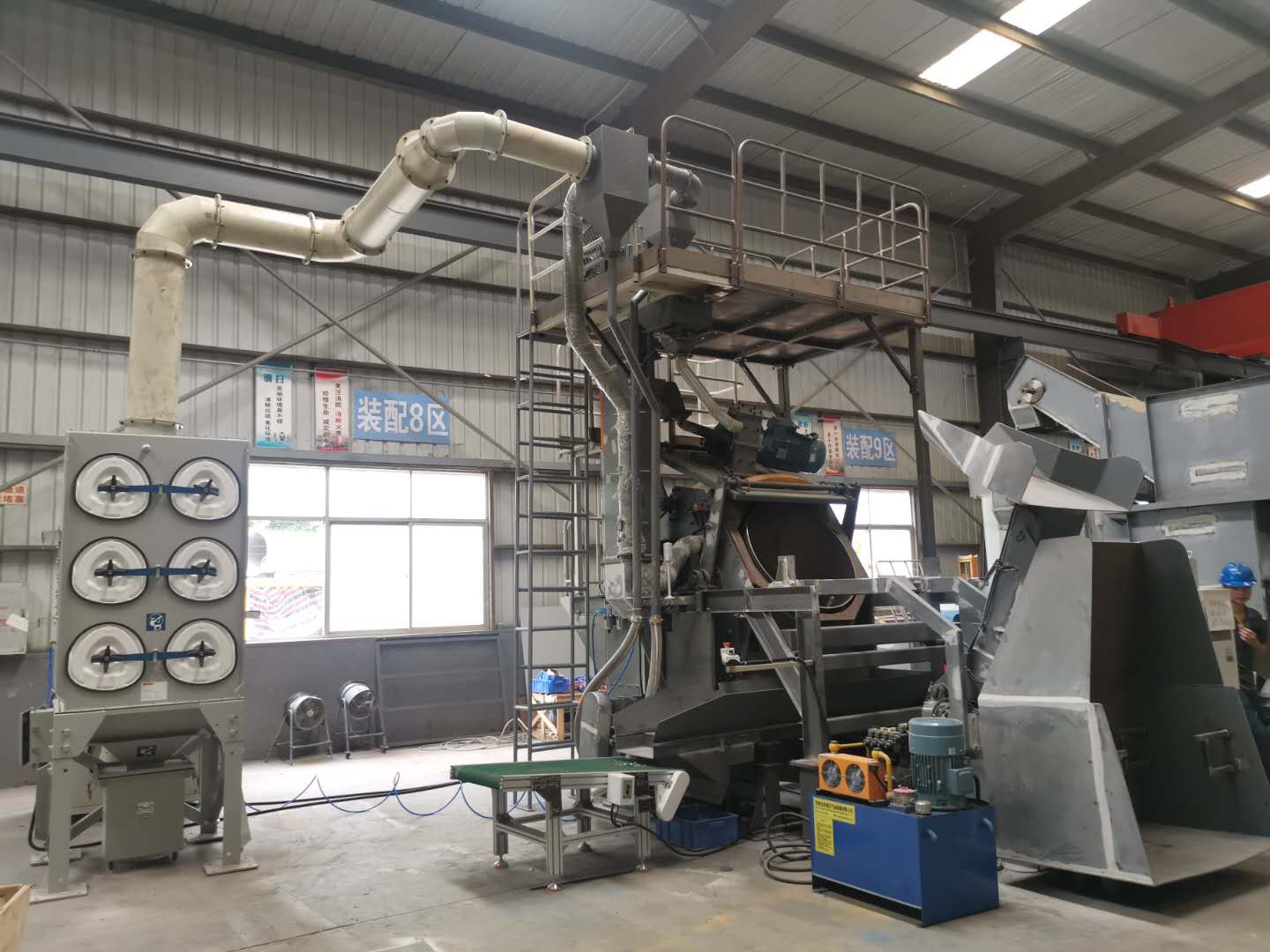 Drum Type shot blasting machine is ideal for metal sheet stamping parts and delivered to Sweden